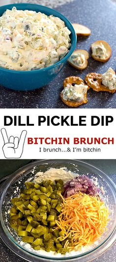 Dill Pickle Dip - Easy appetizer dip recipe with cream cheese mixed with pickle juice and chunks of pickles, diced red onion, and shredded cheddar cheese. #appetizer #dillpickledip #appetizerdip #easyappetizer #pickledip #pickleappetizer via @bitchinbrunch Easy Dip Recipes, Spicy Recipes, Steak Recipes, Shrimp Recipes, Pizza Recipes, Potato Recipes, Indian Food Recipes, Lunch Recipes, Casserole Recipes