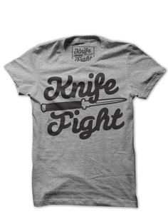 A classy one-color print of the Knife Fight Clothing logo.  Printed on heather grey American Apparel.