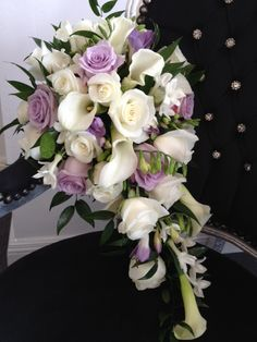 Brides Shower Bouquet Avalanche Roses Calla Lilies and Oriental
