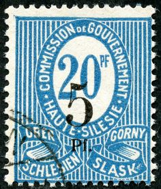 Upper SIlesia  1920 Scott 11 5pf on 20pf blue Black Surcharge, Type I