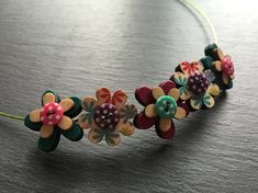 Button Necklace Wooden Flower Button Choker Lime Turquoise Pink £7.50
