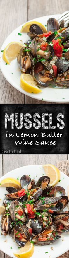 Succulent, luscious, tender Mussels in a savory Lemon Butter Wine Sauce. It's SO good, it's slurp-worthy. Crusty bread for sopping up broth is a must. :) #seafood #appetizer