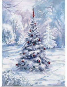 38 Festive Rustic Farmhouse Christmas Decor Ideas to Make Your Season Both Merry and Bright - The Trending House Christmas Scenes, Diy Christmas Tree, Christmas Pictures, Vintage Christmas, Christmas Decorations, Christmas Tree Painting, Christmas Background Images, Christmas Paintings On Canvas, Watercolor Christmas