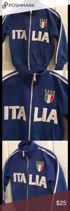 Jacket Sport ITALIA! ITALIA, SPORT Fleece Jacket.. Royal Blue, Long Sleeve 2 side pockets, Front zipper. KAYA Tops Sweatshirts & Hoodies