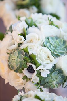 White Roses, Succulents, Ranunculus and Anemone. I like this one but would like the eucalyptus as well.