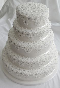 Five Tier White Daisies Wedding Cake By There For The Baking - (flickr)