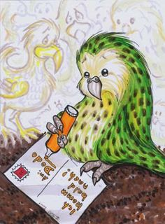 ACEO kakapo and dodo by Nenu on DeviantArt Sweet Sundays, Art N Craft, Comic, Beautiful Birds, Screen Printing, Disney Characters, Fictional Characters, Aurora Sleeping Beauty, Scrap