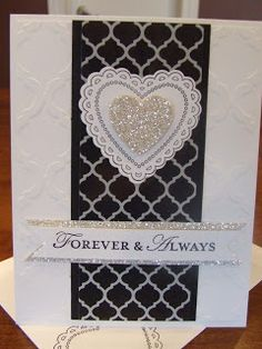 *Stampin' Up, by Amy Frillici, Gathering Inkspiration **order products online at amysuzanne.stampinup.net, Modern Mosaic quatrefancy designer series paper silver glimmer paper hearts a flutter loving thoughts wedding card