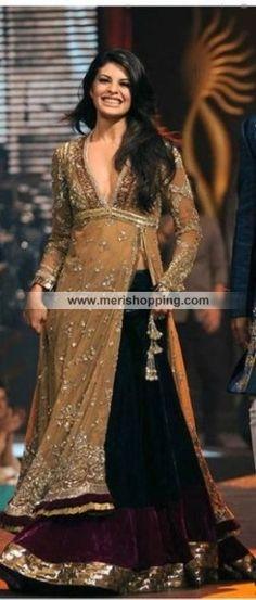 Trendy Traditional Gown With Lehenga Maneesh Malhotra Item# 3820