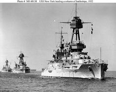 USS New York (BB-34), 1932, after modernization, leading USS Nevada (BB-36) and USS Oklahoma (BB-37). Aircraft carrier USS Lexington (CV-2) in the background.