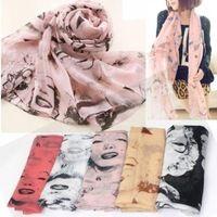 2014 yeni kore moda şık kadın bayan güzel marilyn monroe kafası baskı şifon eşarp şal şal bahar autumn#l03376