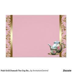 Pink Gold Damask Tea Cup Recipe Cards