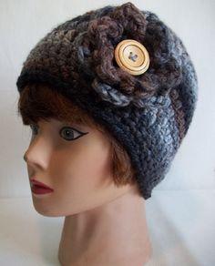 Ladies Black & Brown Chunky Crochet Beanie by KarensCrochetCottage