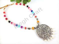 Multicolor Designer Pearl Beaded  Oxidized Pendant-  Designer Pearl Beaded  Oxidized Navratri Pendant- Designer Fashionable Silver Necklace-  BY #CraftsOfGujarat #craftnfashion #meghcraft #indianethnicjewery