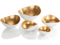 John Richard Gold Luster And White Bowls (Five-Piece Set)