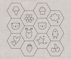 Hexagon Embroidery Patterns -- so cute! Perfect for help my niece learn to embroider...