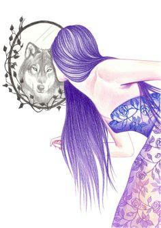 ANDREA HRNJAK - belos desenhos de Andrea Hrnjak Cosmic Love Art, drawings, paintings, illustrations – Arte no Pap - Wolf Spirit, Spirit Animal, Wolves And Women, Wolf Wallpaper, Wolf Love, Wolf Girl, Wolf Tattoos, Art Drawings Sketches, Love Art