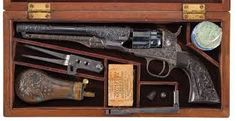 Cased Engraved Colt Model 1862 Police Percussion Revolver with Accessories. Revolver, Westerns, Lead Bullets, Black Powder Guns, Cowboys And Indians, Hunting Guns, Black Power, Old West, New Model