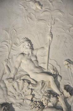 Statuary #Carrara #marble low-relief : Triumph of Neptune signed by sculptor #LouisArdisson and #JulesAllard decorator-designer. Edward J. #Berwind Estate #NYC Fifth Avenue #Fireplace