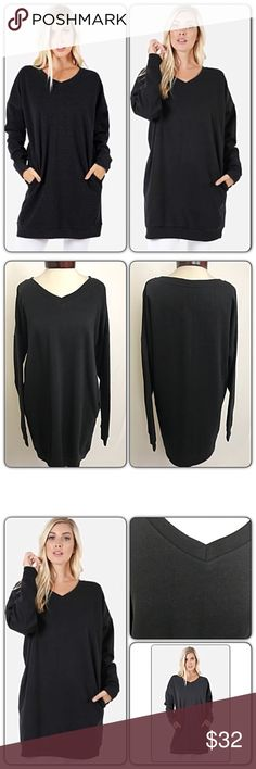 """Extra Long V-Neck Tunic Sweatshirt Black SMLXL Extra long relaxed v-neck tunic sweatshirt with side pockets.  This piece is just what you need to pair with your leggings this season!  Black will match all your patterned leggings & looks amazing with distressed denim!  Soft, cozy 53% cotton - 45% polyester- 2% spandex. Available in blush in separate listing.   Relaxed fit: S/M Bust 46"""" Length 33.5"""" M/L Bust 47"""" Length 34"""" L/XL Bust 48"""" Length 34.5"""" Tops"""
