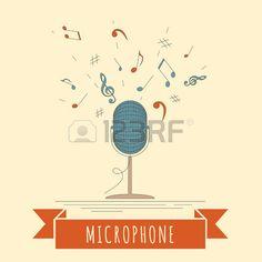 Instruments de musique de mod�le graphique. Microphone. Vector illustration photo