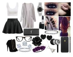 """""""Black, White & Purple"""" by aaliyahsalmon ❤ liked on Polyvore featuring Dorothy Perkins, Topshop, Muse, Yves Saint Laurent, M.A.C, Giuseppe Zanotti, Rolex, Betsey Johnson and Beats by Dr. Dre"""