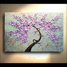 ORIGINAL Purple pink metallic Gold 24x36 Flower Tree painting on canvas thick impasto texture ready to hang wall decor By OTO. $235.00, via Etsy.