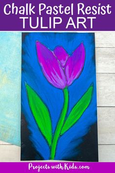 This chalk pastel tulip art project is a great spring activity that kids will love to create! Kids will learn about using glue as a resist technique and layering and blending pastels to create a stunning piece of art. Spring Painting, Painting For Kids, Art For Kids, Chalk Pastel Art, Chalk Pastels, Chalk Art, Clay Art Projects, Projects For Kids, Spring Arts And Crafts