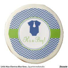 Little Man Chevron Blue Green Baby Shower Sugar Cookie