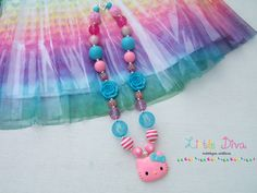 Pink & Blue Hello Kitty Bubblegum Necklace by LittleDivaBubblegum, $25.00