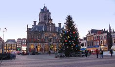 Christmas tree and the old town hall on the market square