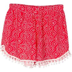 Choies Red Paisley Print Elastic Waist Pom Pom Shorts ($7.90) ❤ liked on Polyvore featuring multi