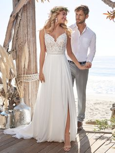 Rebecca Ingram - LORRAINE, Hot dang-soft and dreamy makes a major statement in this V-neck chiffon sheath wedding dress. (Plus it's light and breathable for all kinds of weather.