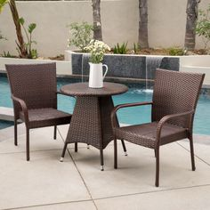 Nelson Outdoor 3 Piece Wicker Bistro Set By Christopher Knight Home