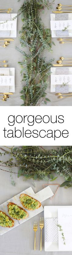 Gorgeous eucalyptus modern tablescape perfect for a wedding or party!
