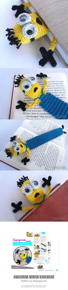 crochet amigurumi ideas Amigurumi Minion Bookmark Crochet Pattern for purchase - Marque-pages Au Crochet, Crochet Mignon, Crochet Gratis, Crochet Amigurumi, Crochet Books, Crochet Home, Cute Crochet, Amigurumi Patterns, Crochet Stitches