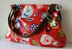 Women Messenger Bag Cross Body Purse wtih  Zipper closur-Matryoshka in Red. $66.00, via Etsy.