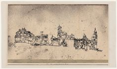 Paul Klee 'Medieval Town' 1924 Pen and watercolor  18.5 x 2 34.5 cm