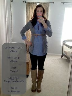 Chambray tunic + cardigan + belt + leggings + boots