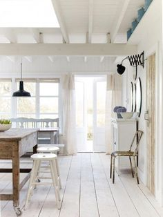 Shabby Chic White Cottage Interior Design Inspiration from a beautiful home in East Sussex by The Beach Studios (Atlanta Bartlett & Dave Coote). White Cabin, White Cottage, Coastal Cottage, Cottage Homes, White Farmhouse, Coastal Living, Farmhouse Style, Rustic Cottage, French Farmhouse