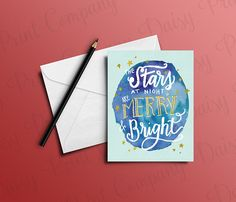 """Items similar to Texas Christmas Card - """"The Stars at Night are Merry and Bright"""" on Etsy Holiday Cards, Christmas Cards, White Christmas, Christmas Holiday, Stars At Night, Your Message, Merry And Bright, White Envelopes, Hanukkah"""