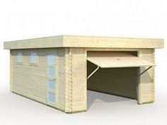 Holzgarage Rasmus 19 m2 Carports, Uk Homes, Garden Buildings, Garden Office, Desk, Doors, Log Cabins, Home Decor, Wood Store