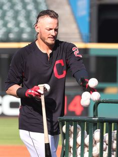 Cleveland Indians Josh Donaldson during batting practice before the game against the Detroit Tigers at Progressive Field. Fsu Baseball Schedule, Baseball Scoreboard, Baseball Equipment, Baseball Jerseys, Baseball Cap, Indians Baseball, Josh Donaldson, Baseball Gifts, Toronto Blue Jays