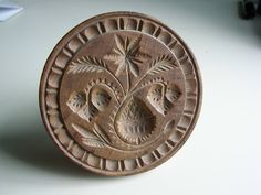 """Beautifully Carved Antique """"Strawberry"""" Butter Print Butter Stamp Mold 