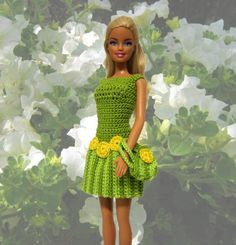 barbie doll fashions | Barbie doll clothes green dress and purse with yellow accents