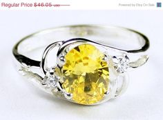 Cyber Week, 30% off, SR176, Golden Yellow CZ, 925 Sterling Silver Ring