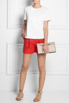 Valentino | Cotton-jersey T-shirt  | Giambattista Valli | Pleated woven shorts | Gianvito Rossi | Metallic leather sandals | Valentino | The Rockstud leather clutch |
