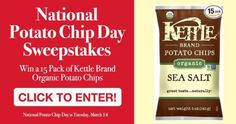 National Potato Chip Day Sweepstakes - Win a 15-Pack of Kettle... sweepstakes IFTTT reddit giveaways freebies contests