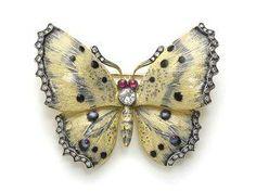 Cream & Blue Enamel Butterfly Brooch