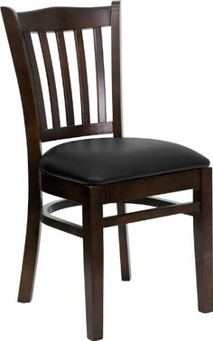 Commercial Quality Vertical Slat Back Walnut Wood Finish Restaurant Chair with Black Vinyl Seat